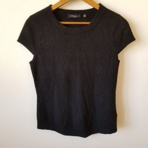 Saks Fifth Avenue Black Short Sleeve Cashmere Top